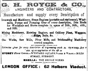 G.H.Royce & Co. advert in the city newspapers, 1886.