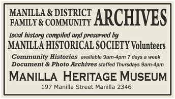 Manilla's Community Archives are housed in the old I.X.L Bakery at the rear of Royce's house. Our Archive Volunteers sort and file the many hundreds of gathered and contributed documents, photographs, maps, records, histories and miscellaneous items which collectively make up our Heritage. Manilla Historical Society has undertaken to safely hold these things in trust on behalf of the Local Community.